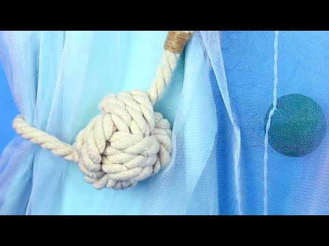 DIY Nautical Curtain Tie Backs Monkey Fist Knot