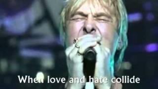DEF LEPPARD - WHEN LOVE AND HATE COLLIDE Live (Lyrics).wmv