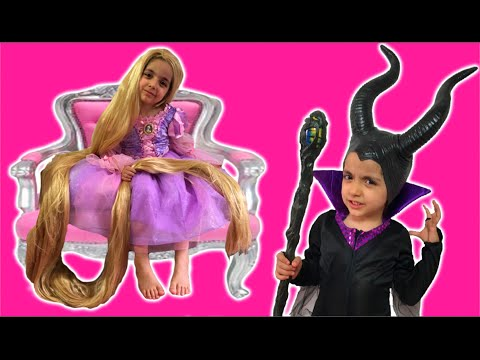 Rapunzel's Hair Disaster - TANGLED BY MALEFICENT WITH MAGIC! Princesses In Real Life