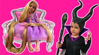 Rapunzel Hair Disaster TANGLED BY MALEFICENT Real Life Disney Princess Movie + Jasmine Hairstyle
