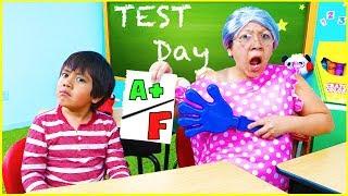 Ryan Pretend Play School Test Day Learn Healthy Choices!!