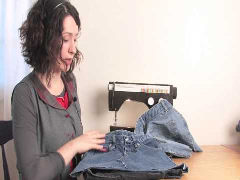 Homemade Blue Jean Skirts : Altering Jeans