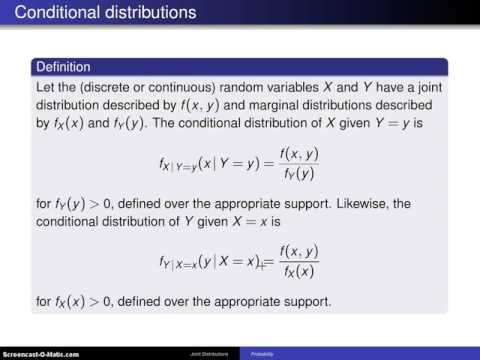 Bivariate distributions; conditional distributions