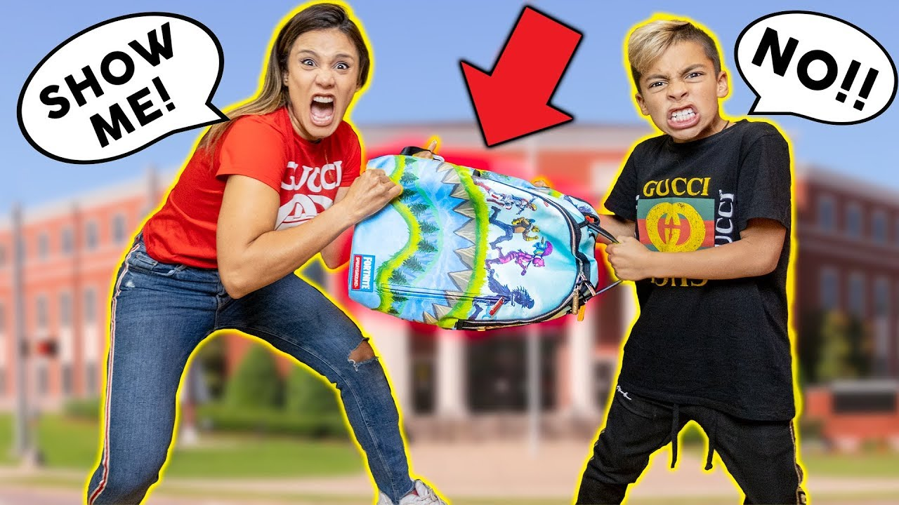 My MOM REACTS To What's In My SCHOOL BACKPACK!!!   The Royalty Family