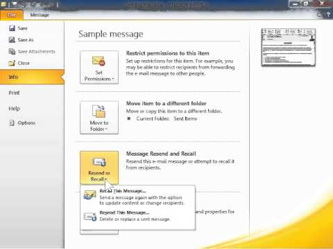 Outlook 2010 Recall a Sent Message