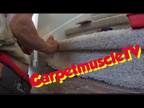 Carpet patch repair on stairs  Educational training carpet repair  video