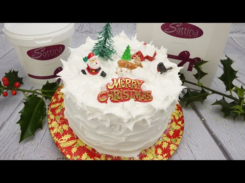 How To Create A Snowy Effect With Royal Icing & Decorate A Christmas Cake With A Retro Set