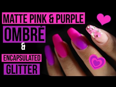 💜💗MATTE PINK & PURPLE GEL POLISH OMBRÉ | ENCAPSULATED CHUNKY GLITTER | CJP 💗💜