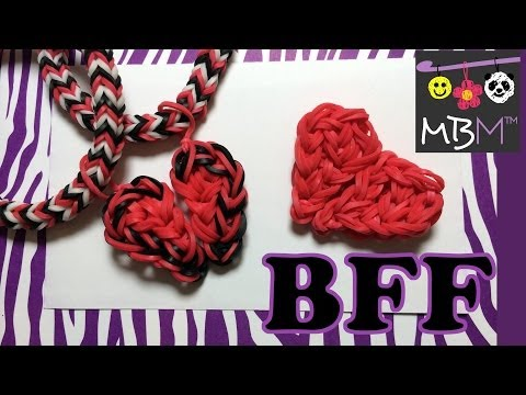 Rainbow Loom Charms: Best Friend Half Hearts BFF