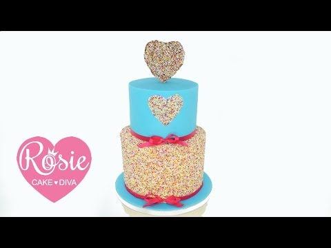 How to make a HEARTS AND SPRINKLES - Buttercream and Fondant VALENTINE CAKE