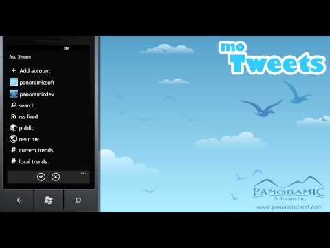 moTweets for Windows Phone 7 - Adding Timelines - Panoramic Software Inc.