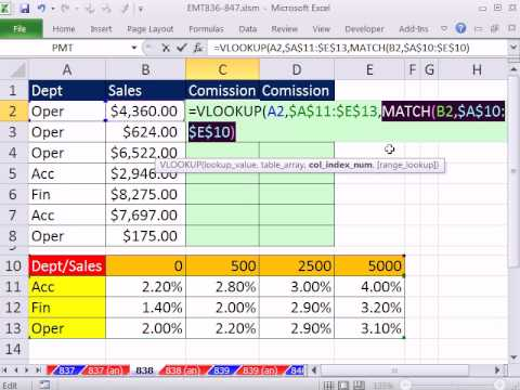 Excel Magic Trick 838: Two Way Lookup, then Multiply To Get Commission Earned