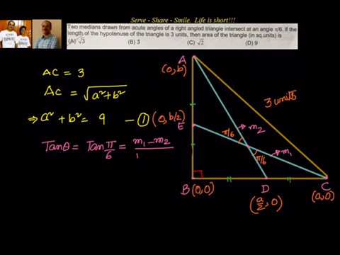 Coordinate Geometry: Find area of right angle triangle given the angle  between 2 medians