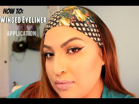 How To: Winged Eyeliner for Hooded, Almond Shaped Eyes   False Lash Application   Bella Anamaria
