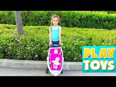 Twins Baby doll stroller - playground fun slide and swing play for kids with toys