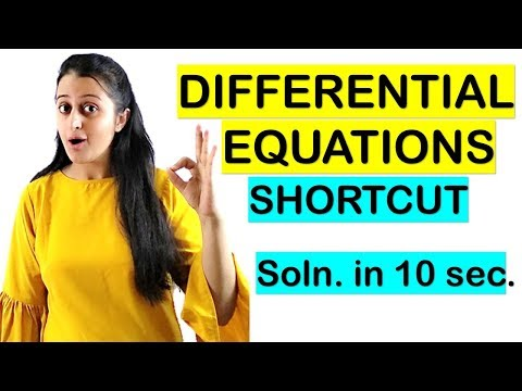DIFFERENTIAL EQUATIONS SHORTCUT//TRICK FOR NDA/JEE/CETs/COMEDK/SOLUTION IN 10 SECONDS