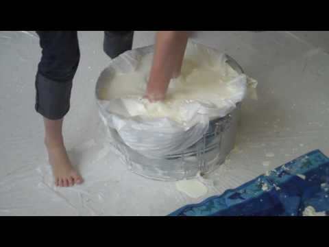 Kid gets stuck in corn starch and water