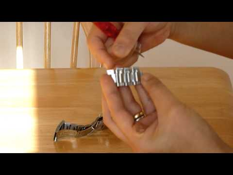 How to adjust a metal watch band by removing extra links with L-shaped pins