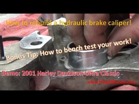 How to rebuild a Brake Caliper. Demo: Rear Harley Davidson 44315-00A 44313-00 44313-01A kits