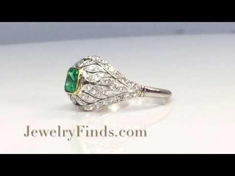 Art Deco Emerald Diamond Cocktail Ring Platinum 18k Yellow Gold