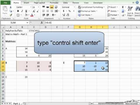 Matrix Math/Excel-1
