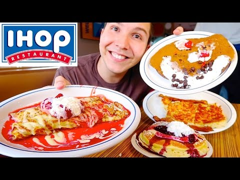 Bacon, Hash Browns, Crepes, & Cheesecake Pancakes • Ihop • MUKBANG