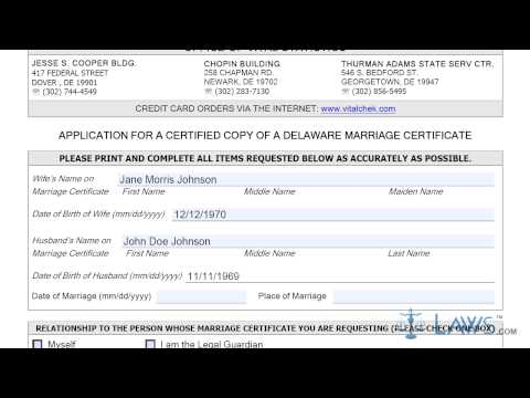 Instruction To Fill Application For A Certified Copy Of A Delaware Marriage Certificate