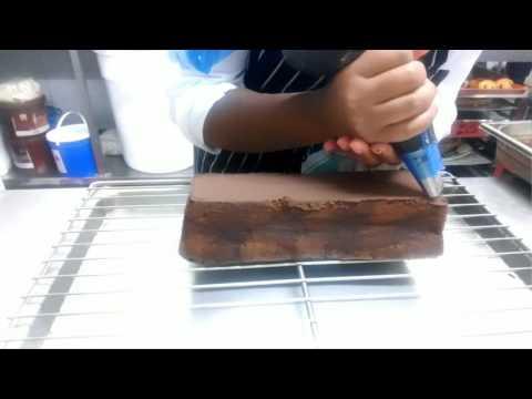 Chocolate cake and whiskey ganache