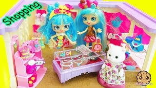 Shoppies Shopping At Calico Critters Boutique + Shopkins Mall Fashions with Surprise Blind Bags