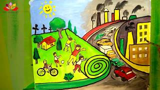 save earth save nature poster drawing on go green