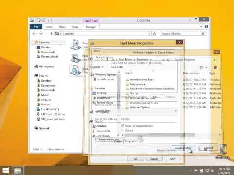 Windows 8.1 - Create a 'Library' simplistic Start Button/Orb Menu on your taskbar
