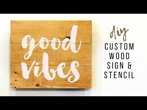 DIY Wooden Sign || How To Make Custom Stencils || Handmade Stencils