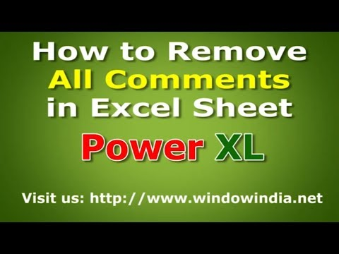 How to remove comments in excel