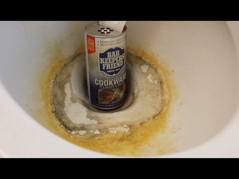 How To Clean A Toilet Remove Hard Water Stains And Rust, Bar Keepers Friend.
