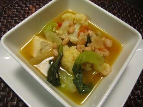 Vegan Cauliflower Soup with Bok Choy
