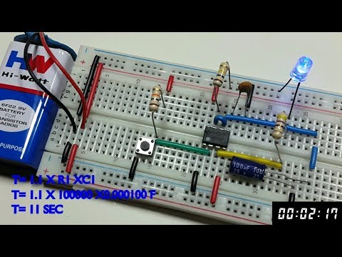 Monostable multivibrator using 555 timer in Tamil & English