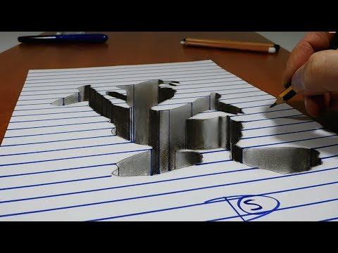 3D Trick Art   Donald Duck   Hole on Line Paper