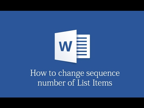 How to change sequence number in List items in MS word