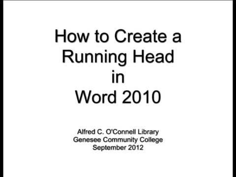 How to Create a Running Head in Word 2010