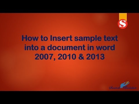 How to Insert sample text into a document in word 2007, 2010 & 2013