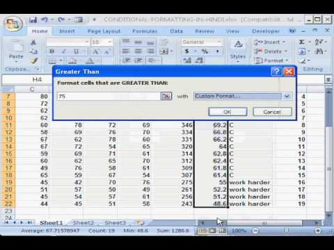 Conditional Formatting in MS Excel in Hindi