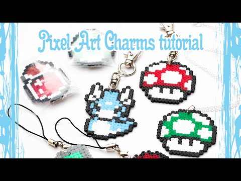 Pixel Art 8bit Charms from hama / perler beads tutorial