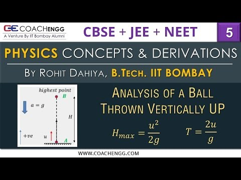 A Ball Thrown Vertically up | Find maximum height & Time of flight | PHYSICS | CBSE | IIT JEE | NEET