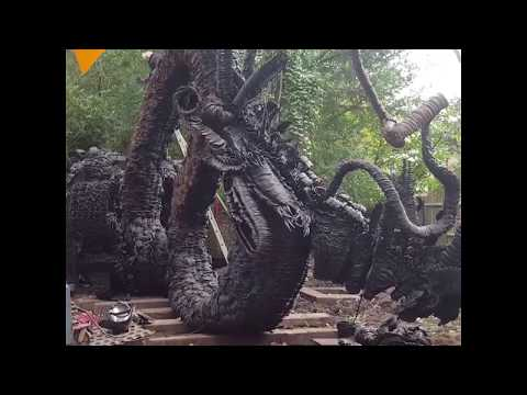 Statue of a Dragon Made of Old Horseshoes