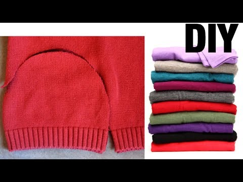 HOW TO TURN OLD SWEATERS TO CUTE WINTER HATS