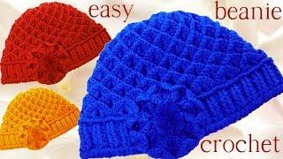 Como tejer Gorro boina a Crochet o Ganchillo punto panal en relieve ... d09f443efd1