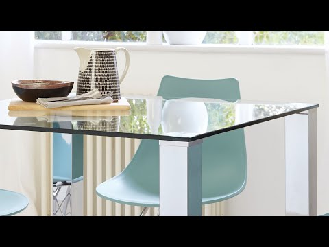 Tiva Glass and Chrome Dining Table Range