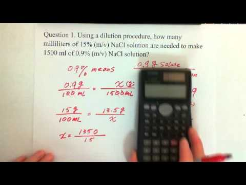 13. Concentration of a Solution: Dilution Calculation (1)
