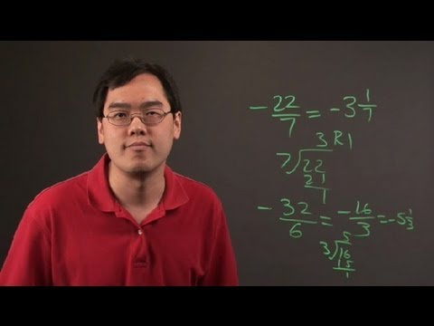 How to Reduce Improper Negative Fractions : Negative Numbers & Other Math Tips