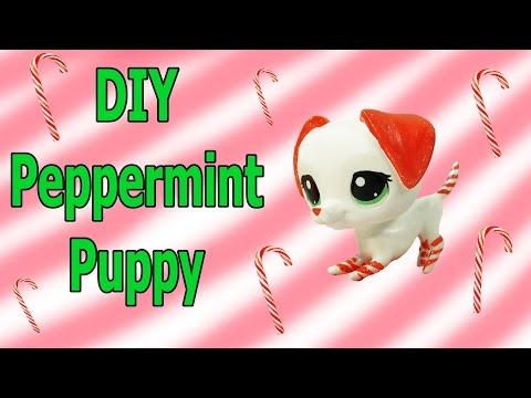 Custom LPS DIY Peppermint Candy Cane Puppy Dog Inspired Littlest Pet Shop Blind Bag Craft